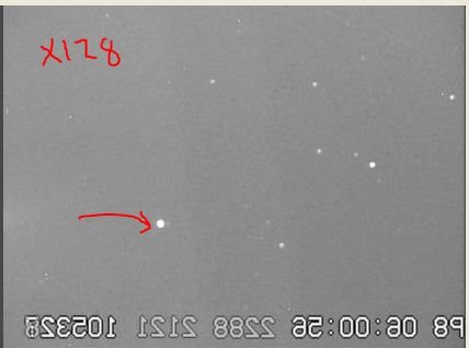 Note asteroid adjacent to target star, sense up x128