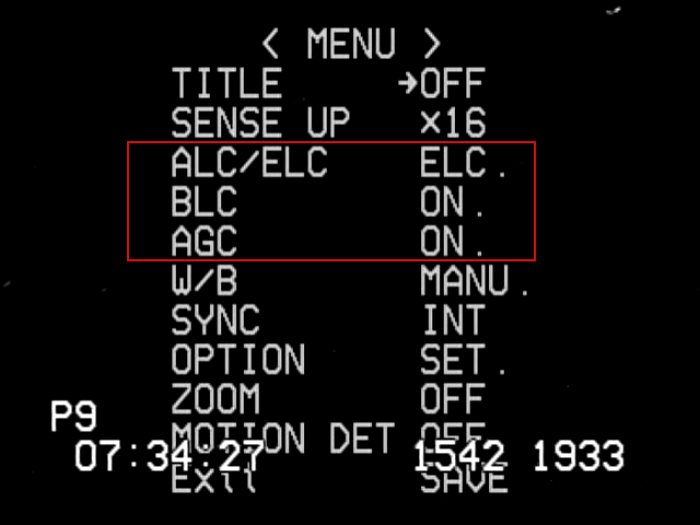 Screen shot of top-level camera settings. The three settings in the red box are not set correctly. These settings are particularly bad because they can prevent getting an accurate time for an occultation. The settings should be ALC (SHUTTER OFF, LEVEL to the far right), BLC (OFF), and AGC (MANU, set to the maximum).