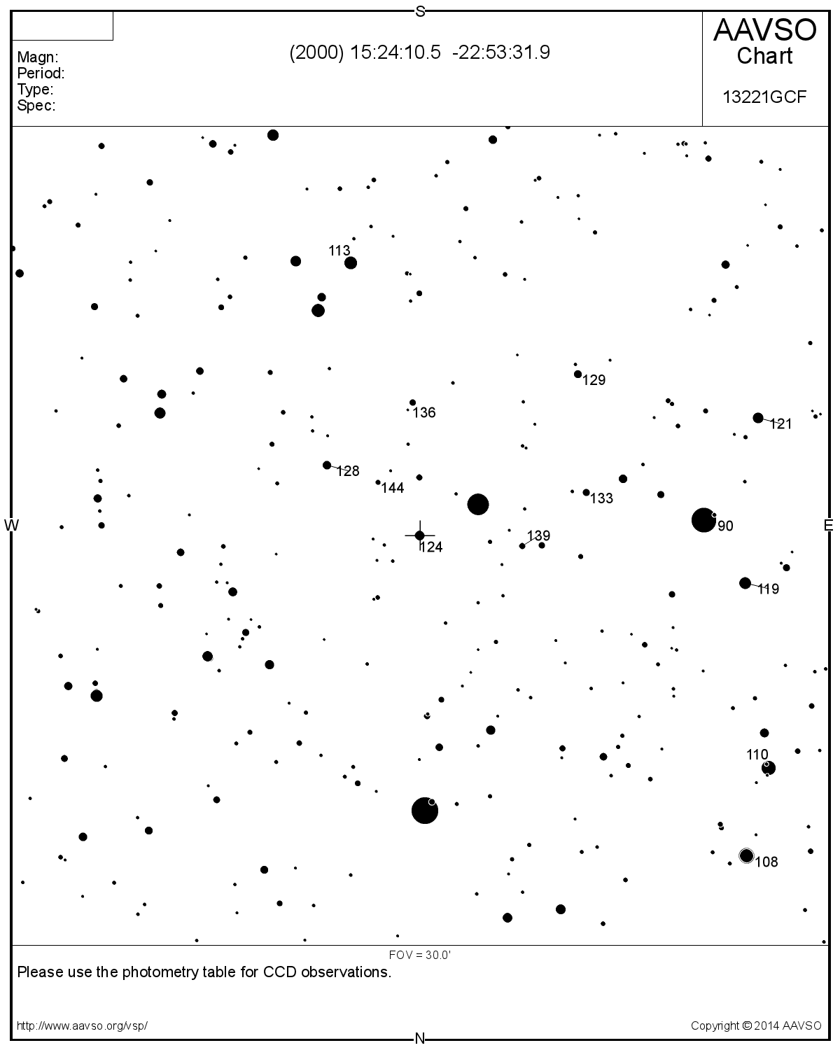 (976) Benjamina star chart (using AAVSO Variable Star Plotter)