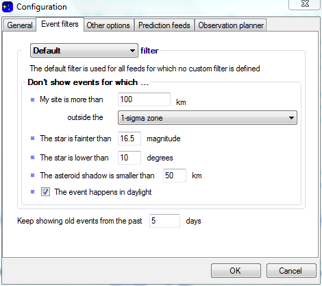 Event Filter settings for Bienor on OccultWatcher