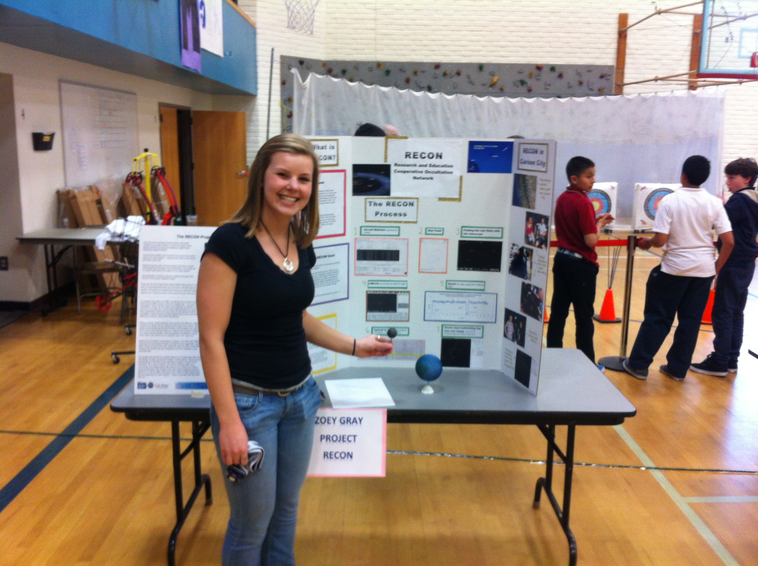 Carson High Senior making a presentation of Project RECON at Eagle Valley Tech-Night, March 2014