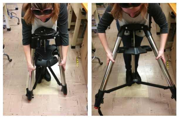Technique for spreading all three tripod legs evenly.