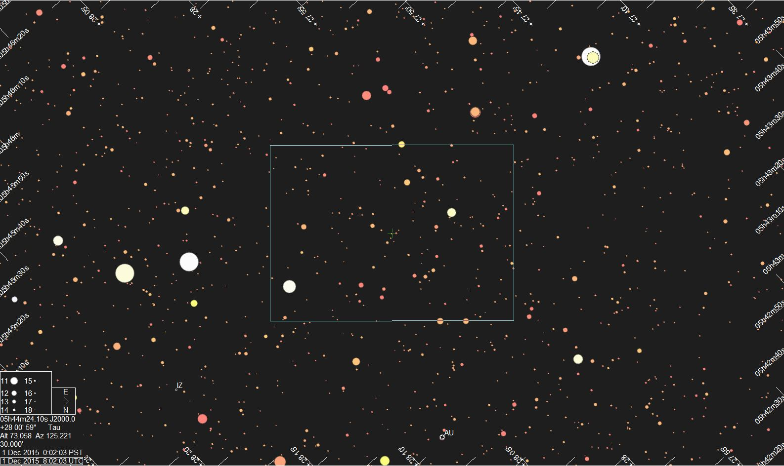 Star chart for 13WV107 provided by Jerry Bardecker
