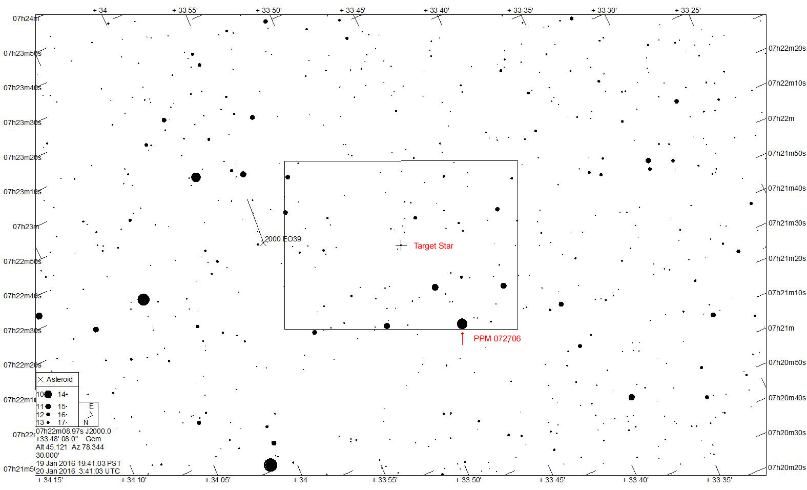 30' Star chart for 03WL7 on 2016 January 20 UTC