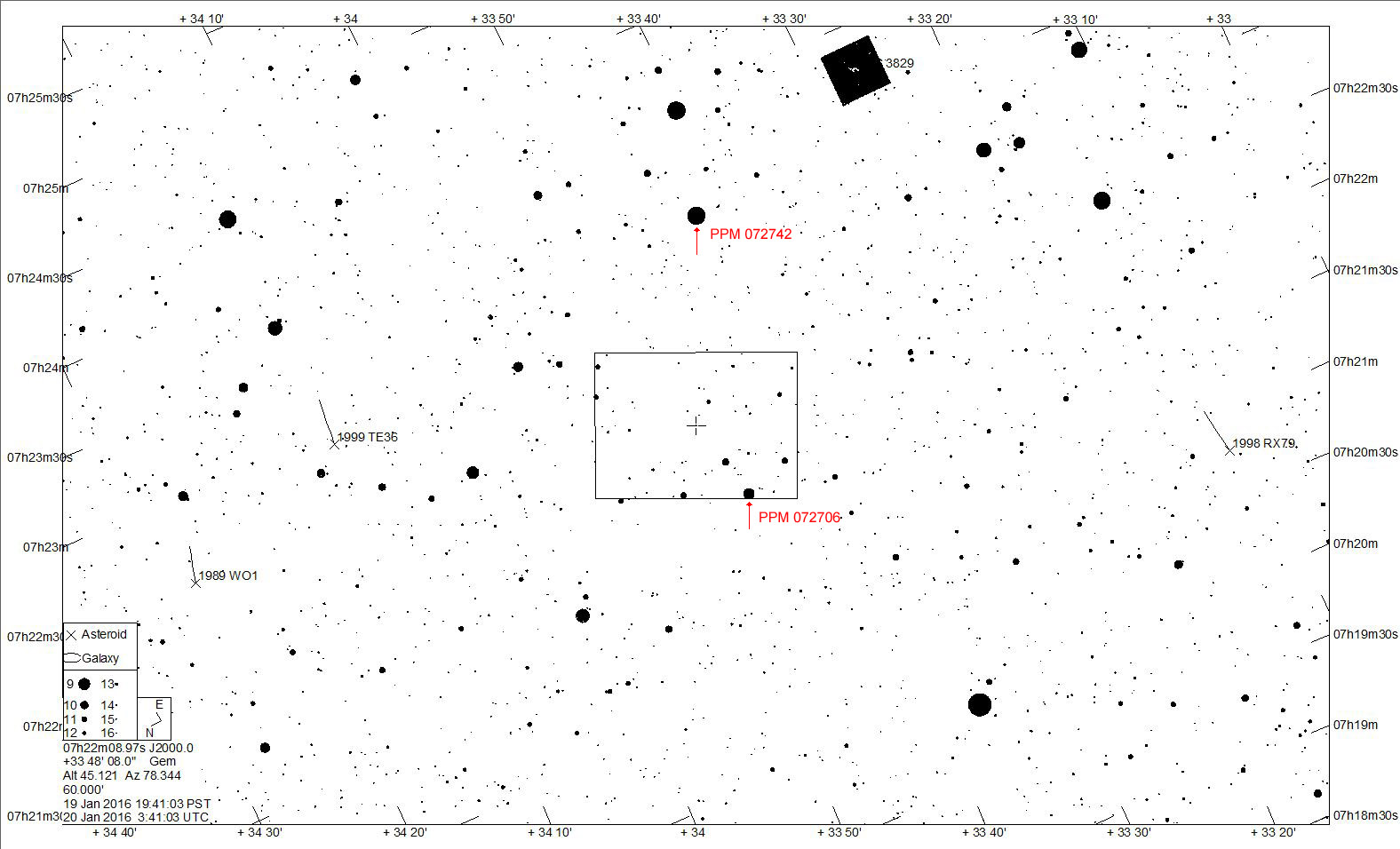 1-degree star chart for 03WL7 on 2016 January 20 UTC
