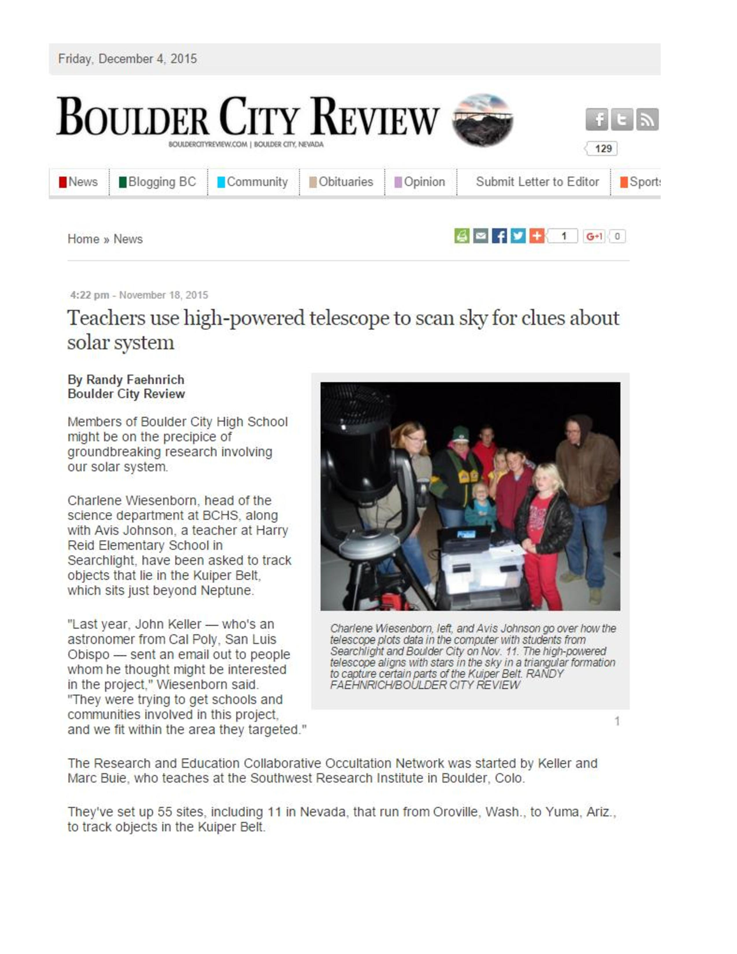 RECON Article in Boulder City Review | RECON