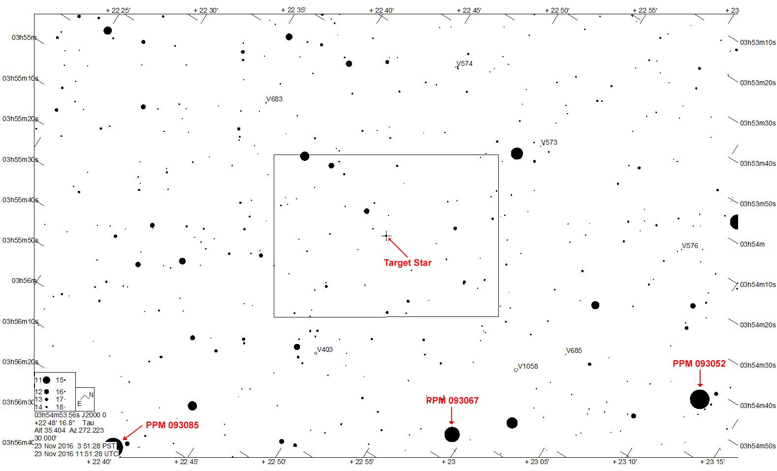 Star chart provided by Jerry Bardecker. Rectangle shows field of view for RECON camera setup in orientation during time of event.