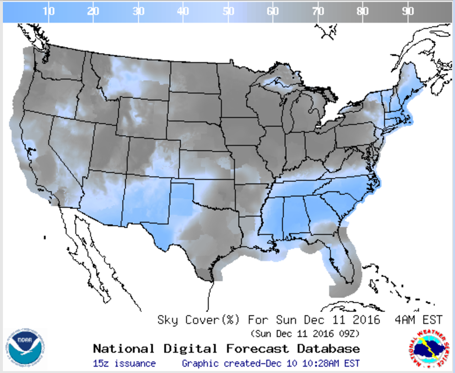 National Weather Service cloud cover forecast for Saturday night/Sunday morning.